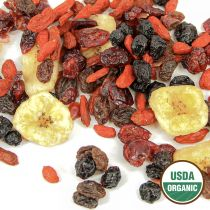 his delicious blend of 7 organic, dried superfruits is packed with antioxidants, fiber, vitamins and minerals. A healthy and naturally energizing on-the-go snack for all ages, our superfruit mix adds a nutritious boost to your favorite oatmeal, yogurt, sa