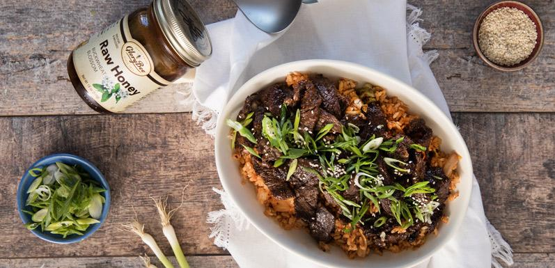 Caramelized Korean Beef with Kimchi Fried Rice
